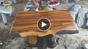 Building A Wooden Imitation Table With Sand And Cement // Amazing Ideas, How To Construction