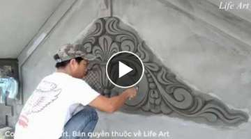 Art of cement and sand reliefs